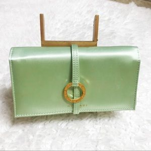 BVLGARI Mint Green Satin Clutch Wristlet NWOT
